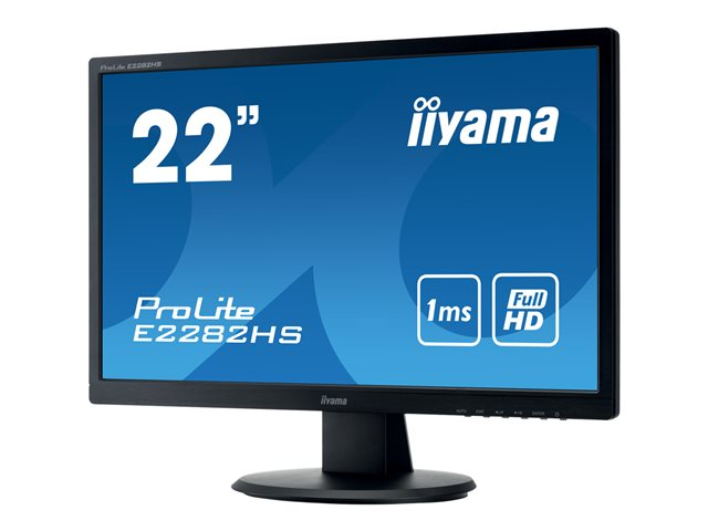 "Iiyama ProLite E2282HS-B1 - Écran LED - 22"" (21.5"" visualisable) - 1920 x 1080 Full HD (1080p) - TN - 250 cd/m² - 1000:1 - 1 ms - HDMI, DVI-D, VGA - haut-parleurs - noir mat"