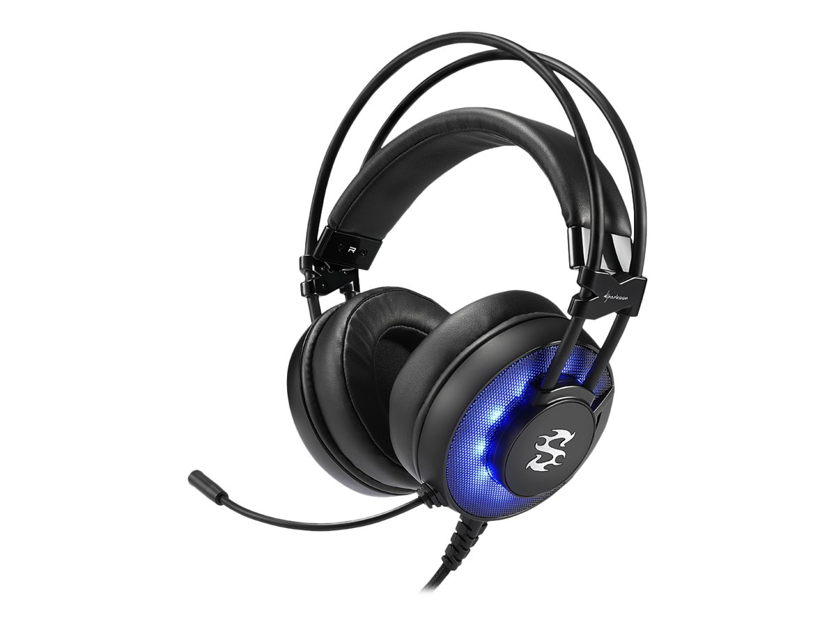 Sharkoon SKILLER SGH2 - Headset - Full-Size - verkabelt - USB - Blue Illumination, Komplett Schwarz