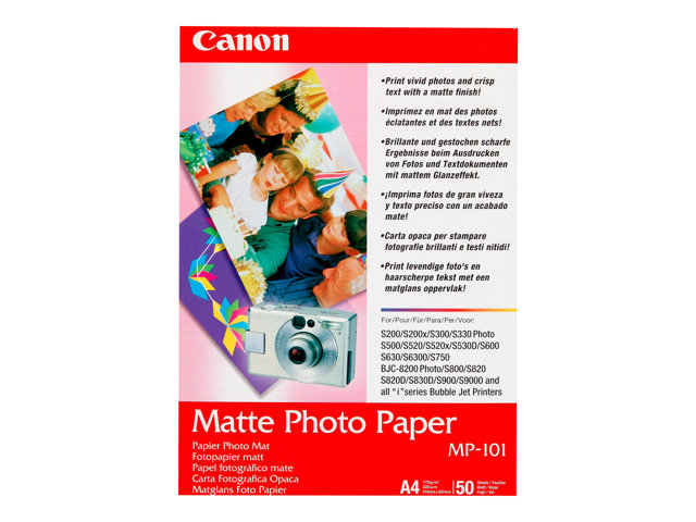 Canon MP-101 - Mat - A4 (210 x 297 mm) 50 feuille(s) papier photo - pour PIXMA iP90, iX7000, MG8250, MP490, MP510, MP550, MP560, MP960, MX330, PRO-1, PRO-10, 100