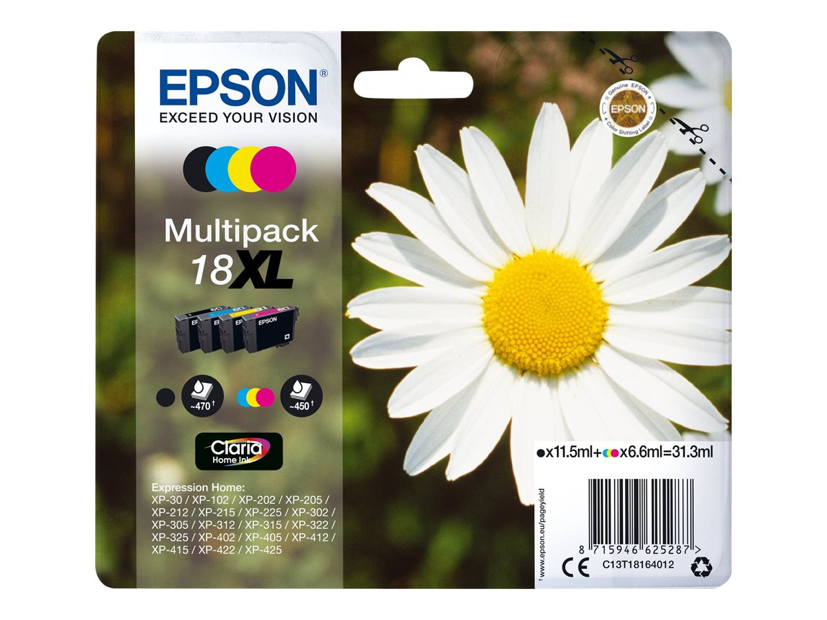 epson t1816 xl multipack p querette pack de 4 noir jaune cyan magenta originale. Black Bedroom Furniture Sets. Home Design Ideas