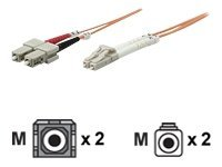 Intellinet - Patch-Kabel - LC Multi-Mode (M) bis SC multi-mode (M) - 10 m - Glasfaser - 50/125 Mikrometer