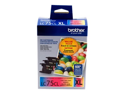 Brother LC-75CL XL - 3-pack - High Yield - yellow, cyan, magenta - original - ink cartridge