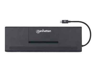 Manhattan USB-C Dock/Hub with Card Reader and MST - Ports (x9): Audio 3.5mm, DisplayPort, Ethernet, HDMI, USB-A (x3), USB-C and VGA, With Power Delivery to USB-C Port (100W), Cable 20cm, Black, Three Year Warranty, Retail Box