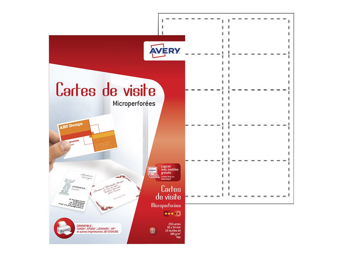 avery 250 cartes de visite blanches bords micro perfors 85 x 54mm