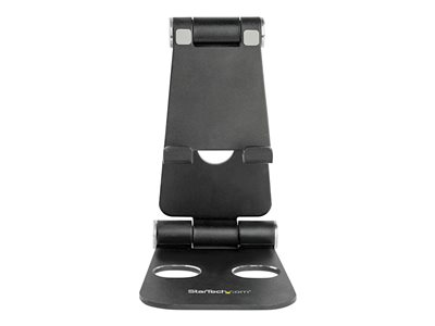 StarTech.com Phone and Tablet Stand, Foldable Universal Mobile Device Holder for Smartphones & Tablets, Adjustable Multi-Angle Viewing Ergonomic Cell Phone Stand for Desk, Portable, Black - Foldable Phone Holder (USPTLSTNDB)