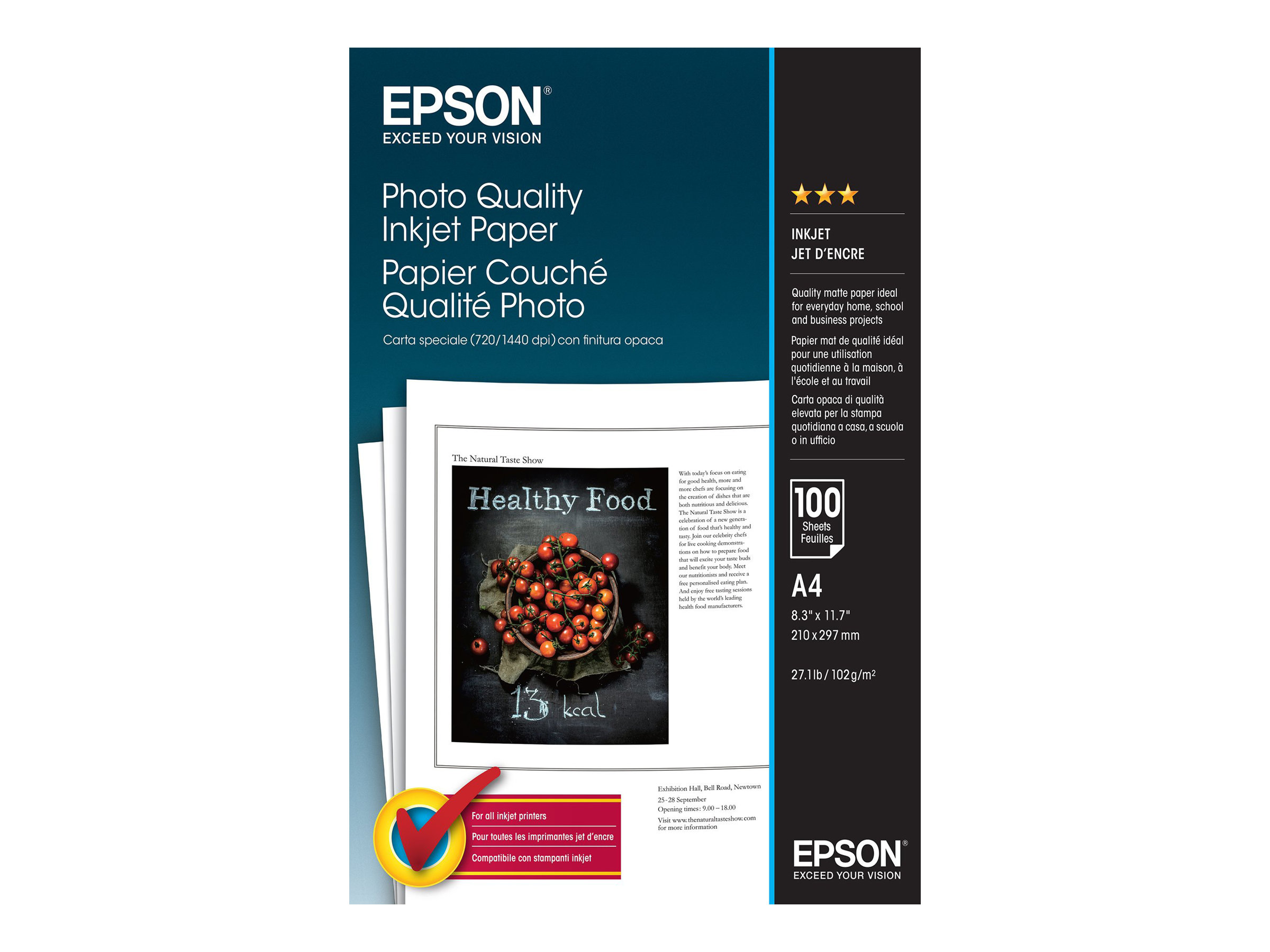 Epson Photo Quality Ink Jet Paper - Matt - beschichtet - Pure White - A4 (210 x 297 mm) - 102 g/m²