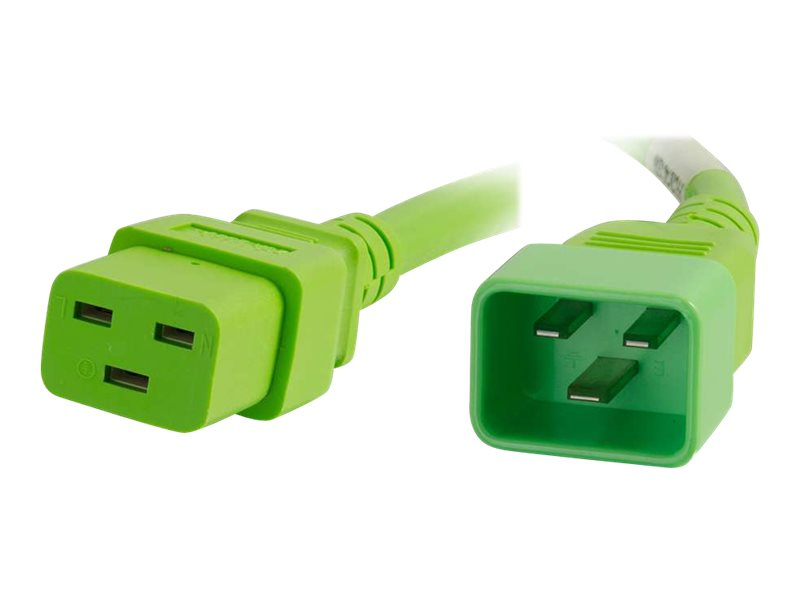 C2G 8ft 12AWG Power Cord (IEC320C20 to IEC320C19) - Green - power cable - TAA Compliant - 2.44 m