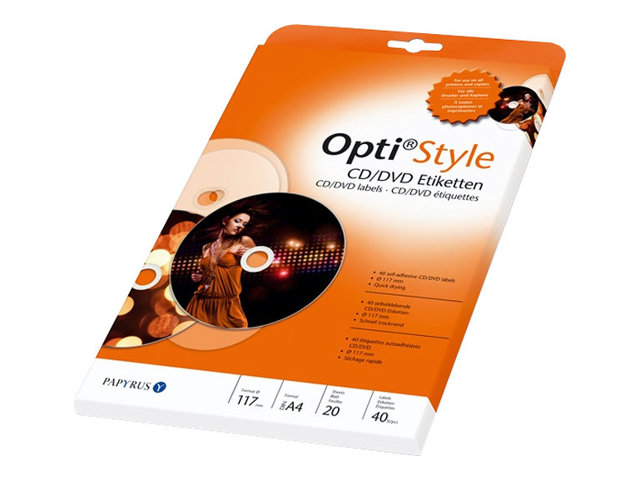 Papyrus Opti Style - CD/DVD cover labels - self-adhesive - 117 mm rund 40 Etikett(en) (20 Bogen x 2)