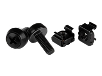 StarTech.com M6 Cage Nuts and Screws - 50 Pack - 12mm Rack Screws and Cage Nuts - Black (CABSCREWM6B) - Rack screws and nuts - black - for P/N: RK12WALLO, RK12WALLOA, RK15WALLO, RK15WALLOA, RK4236BKB, RK4242BK30, RKQMCAB12V2
