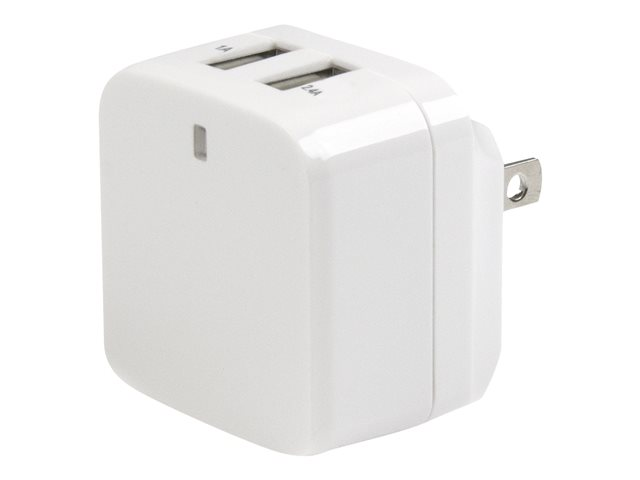 Usb2pacwh Startech Com Dual Port Usb Wall Charger 17w 3