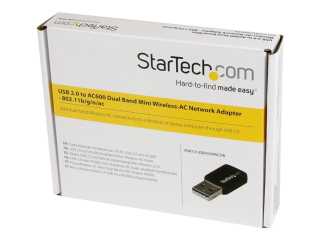 StarTech.com USB 2.0 AC600 Mini Dual Band Wireless-AC Network Adapter - 1T1R 802.11ac WiFi Adapter - 2.4GHz / 5GHz USB Wireless (USB433WACDB)