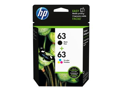 HP 63 2-pack dye-based black, dye-based tricolor original ink cartridge
