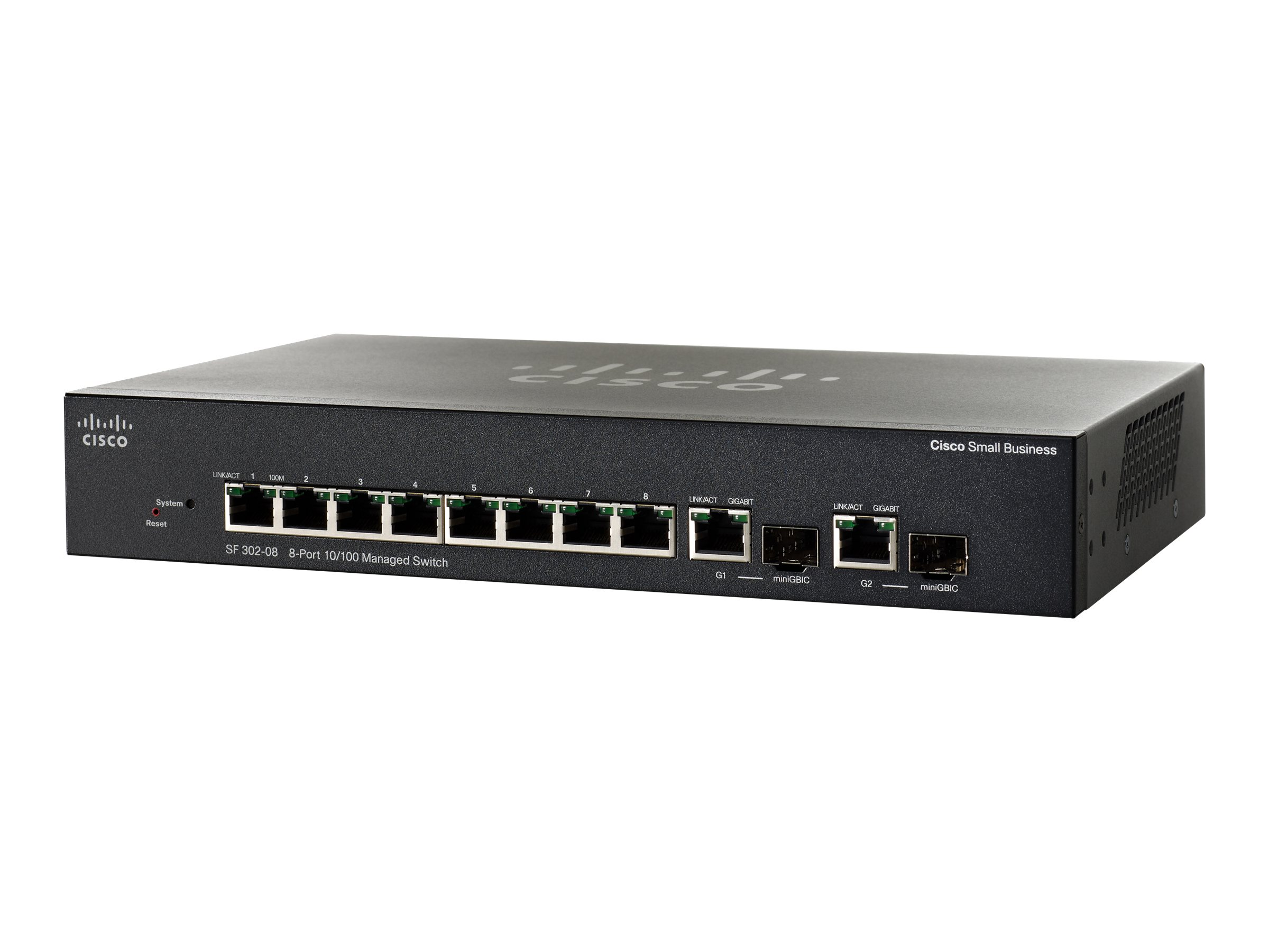 Cisco Small Business SF302-08 - Switch - L3 - verwaltet - 8 x 10/100 + 2 x Kombi-Gigabit-SFP - Desktop
