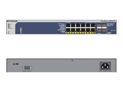 NETGEAR ProSAFE GSM5212P - Switch - L2+ - verwaltet - 12 x 10/100/1000 (PoE+) + 4 x Shared SFP - Desktop, an Rack montierbar