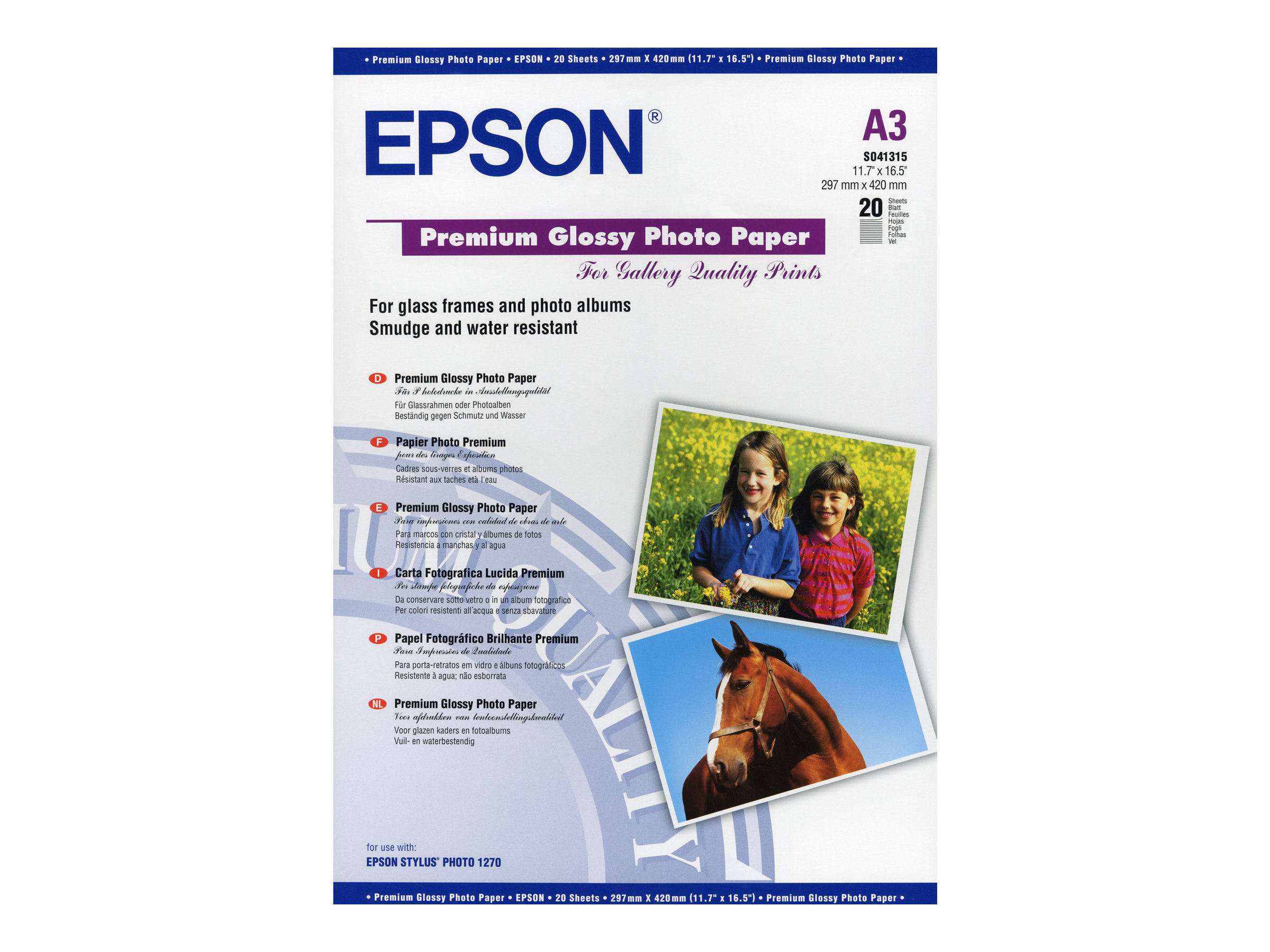 Epson Premium - papier photo - 20 feuille(s) - A3 - 255 g/m²