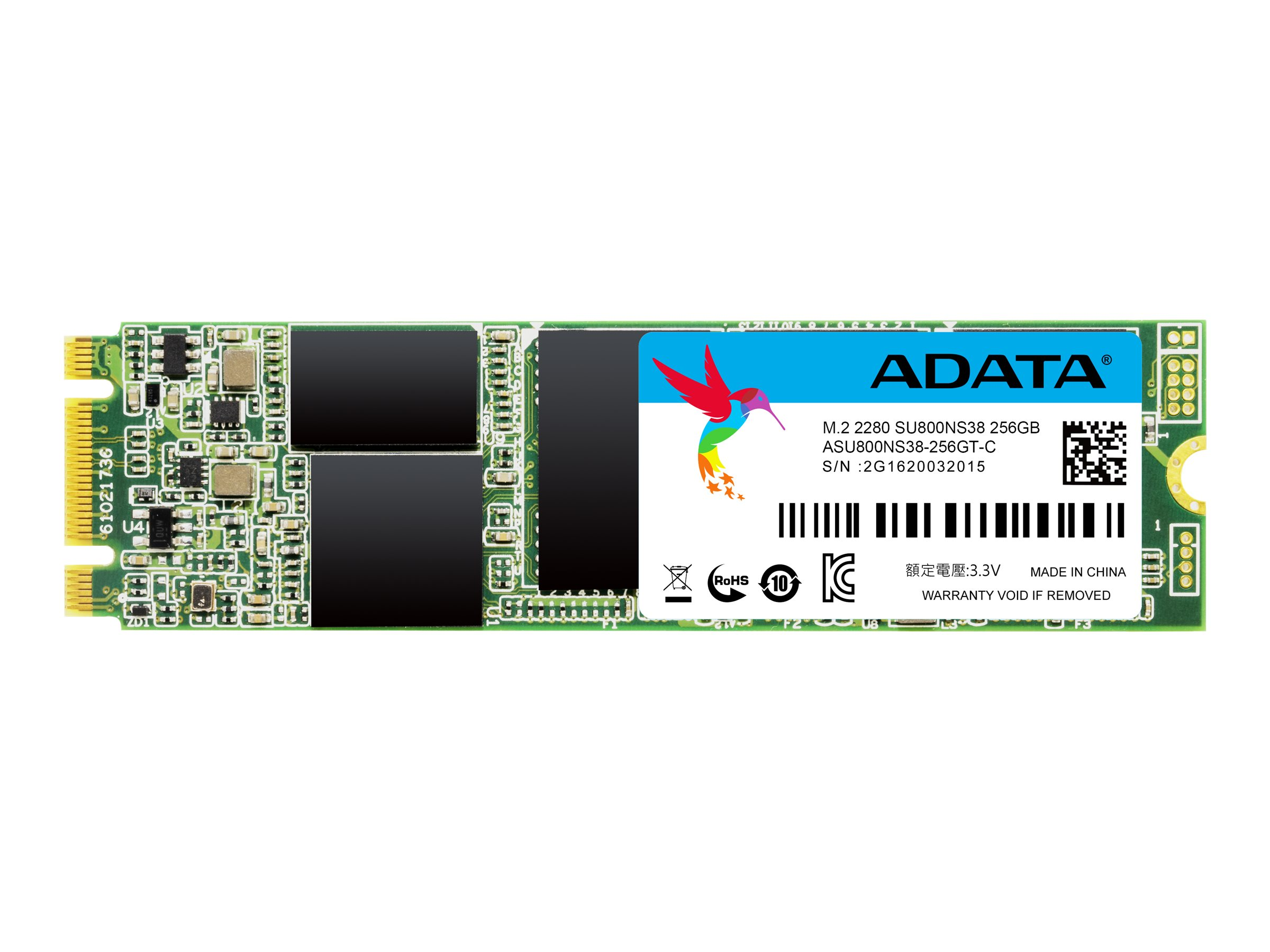 ADATA Ultimate SU800 - Solid-State-Disk - 256 GB - intern - M.2 2280 (M.2 2280) - SATA 6Gb/s