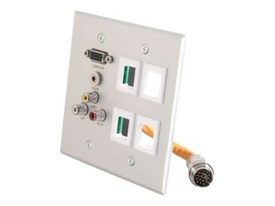 C2G RapidRun Double Gang Integrated HD15 + 3.5mm + RCA Audio/Video + (4) Keystone Wall Plate - mounting plate