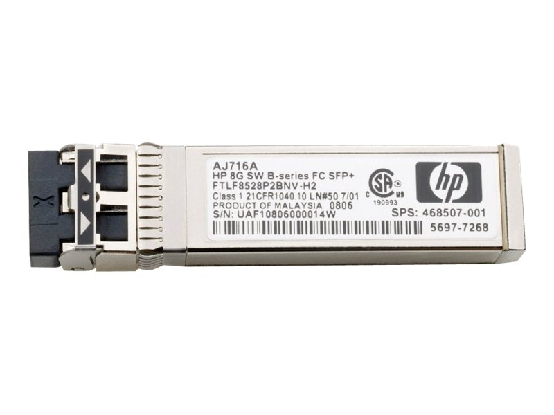 HPE B-Series - SFP+-Transceiver-Modul - 8 GB Fibre Channel (SW) - Fibre Channel - für HPE 32, 48, 8/24, 8/8, SAN Switch 8/80, SN8000B 32, SN8000B 48; StoreFabric 8/24 8Gb