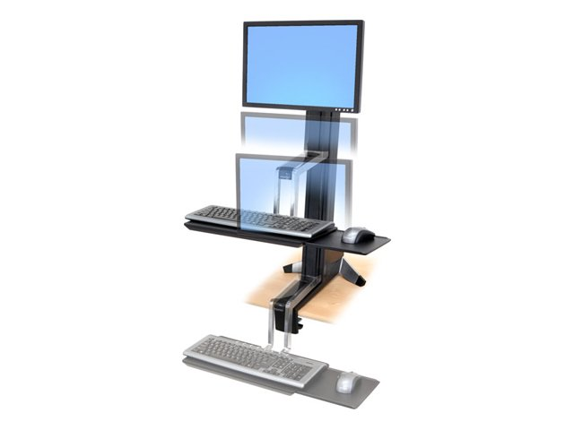 Ergotron WorkFit-S Single LD Sit-Stand Workstation Standing Desk - pied
