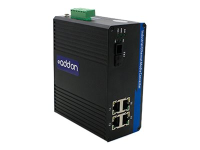 AddOn 100Mbs 4 RJ-45 to 1 SC Industrial Media Converter - fiber media converter - 100Mb LAN