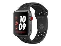 Apple Watch Nike+ Series 3 (GPS + Cellular) - 42 mm - espace gris en aluminium - montre intelligente avec bracelet sport Nike - fluoroélastomère - anthracite/noir - taille de bande 140-210 mm - 16 Go - Wi-Fi, Bluetooth - 4G - 34.9 g