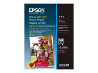 Epson Value - Brillant - 100 x 150 mm - 183 g/m² - 50 feuille(s) papier photo - pour Epson L382, L386, L486; Expression Home HD XP-15000; Expression Premium XP-900