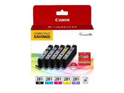 """Canon CLI-281 BKCMYPB/5""""x5"""" PP-301 Combo Pack - 5-pack - black, yellow, cyan, magenta, photo blue - original - ink tank…"""