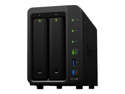 Synology Disk Station DS718+ NAS server 2 bays RAID 0, 1, 5, 6, 10, JBOD RAM 2 GB