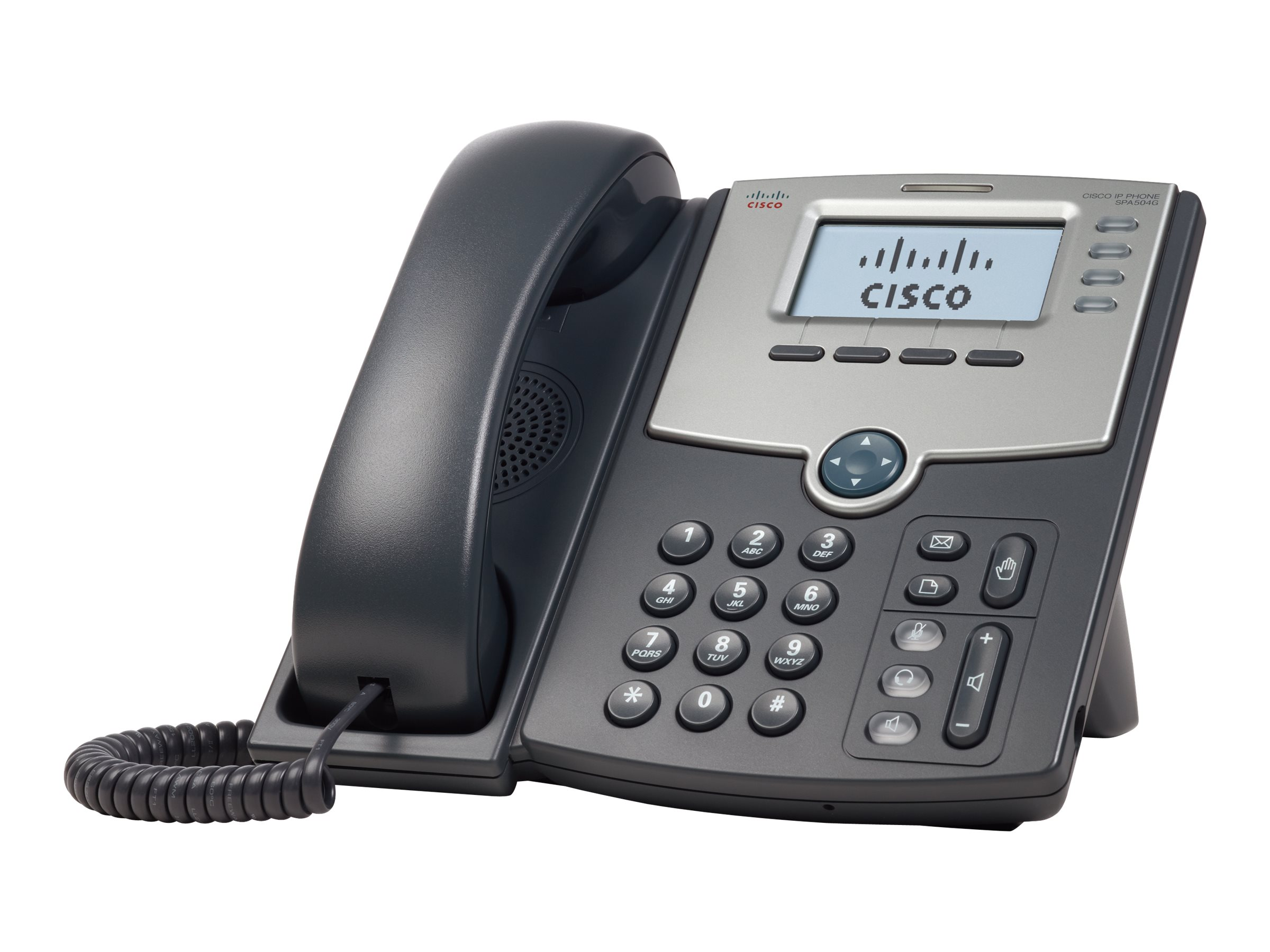 Cisco Small Business SPA 504G - VoIP-Telefon - SIP, SIP v2, SPCP - mehrere Leitungen - Silber, Dunkelgrau - für Small Business Pro Unified Communications 320 with 4 FXO