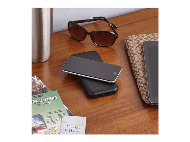 Tripp Lite Portable Wireless Charging Power Bank - 10,000 mAh, Qi Certified, Apple and Samsung Compatible, Black
