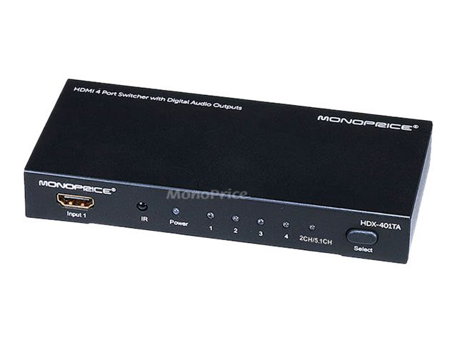 Monoprice 4X1 HDMI Switcher w/ Toslink & Digital Coaxial Port (Rev.2) w/ 3D support - video/audio switch - 4 ports