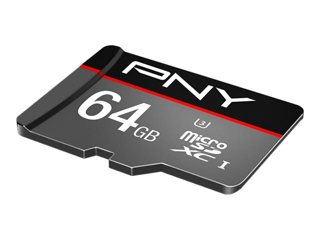 PNY Turbo - Carte mémoire flash (adaptateur microSDXC vers SD inclus(e)) - 64 Go - UHS-I U3 / Class10 - microSDXC UHS-I