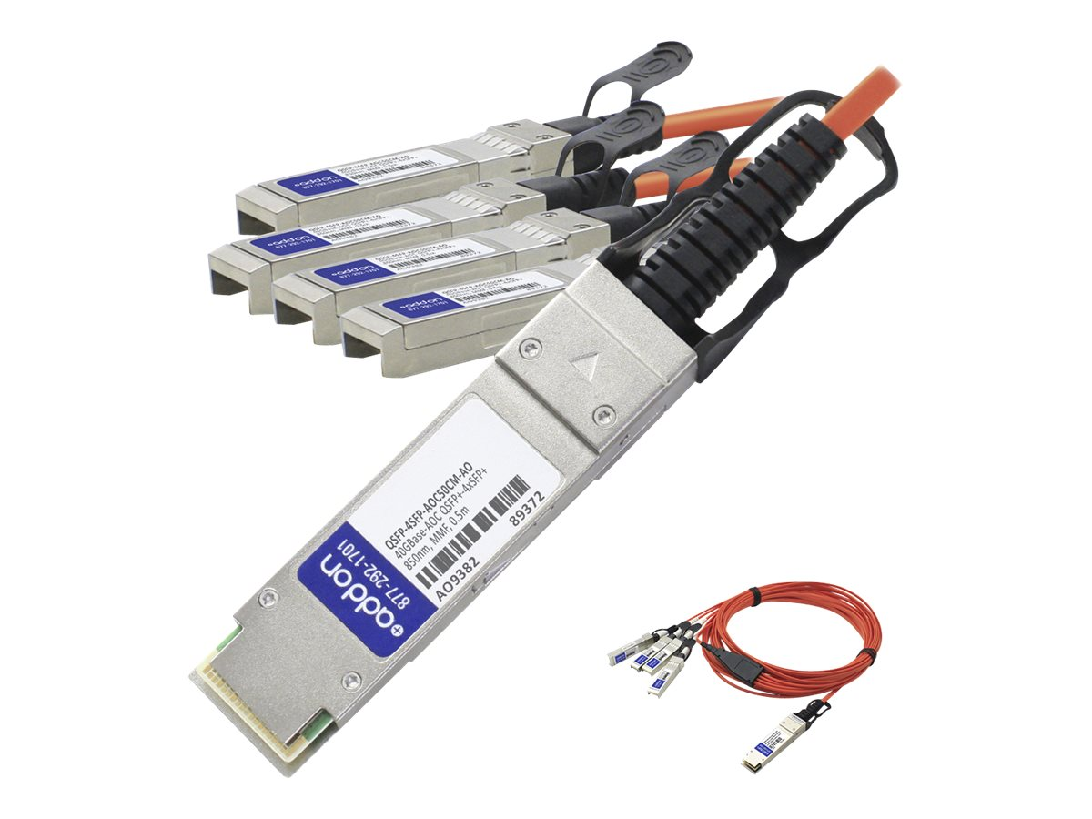AddOn 0.5m Industry Standard QSFP+ Breakout AOC - 40GBase direct attach cable - 0.5 m