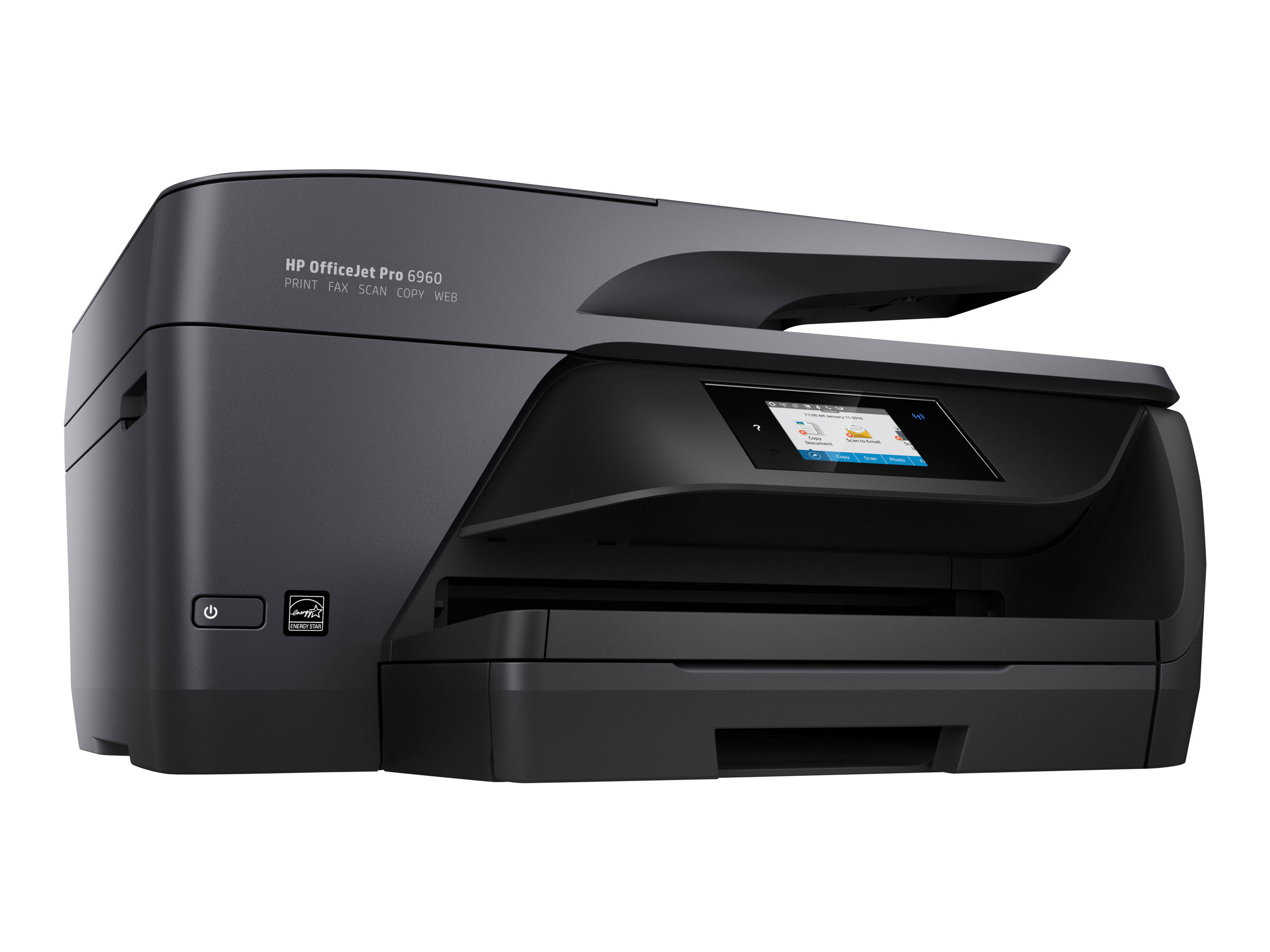 Imprimante HP Color Officejet Pro 6960 All-in-One vue 3/4 gauche