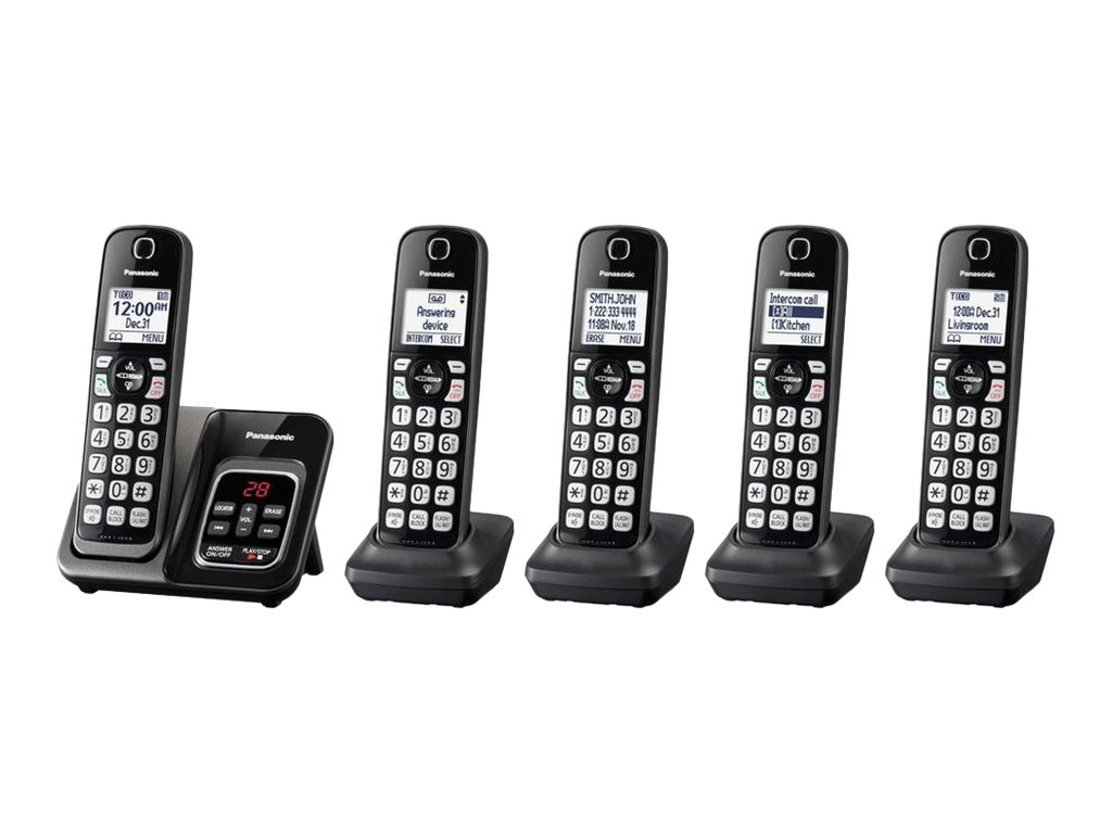 Panasonic KX-TGD535 - cordless phone - answering system with caller ID/call waiting + 4 additional handsets