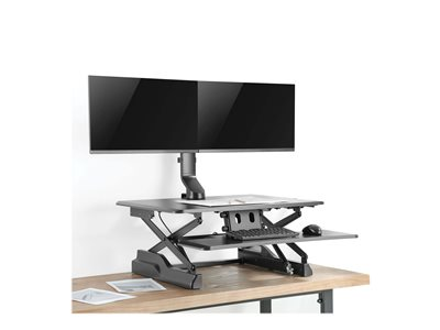 Tripp Lite Dual-Display Monitor Arm with Desk Clamp and Grommet - Height Adjustable, 17