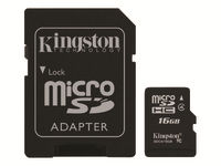 Kingston - Flash memory card (microSDHC to SD adapter included) - 16 GB - Class 4 - microSDHC