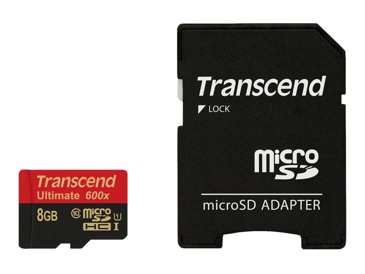 Transcend Ultimate - Flash-Speicherkarte (microSDHC/SD-Adapter inbegriffen) - 8 GB - UHS Class 1 / Class10 - 600x - microSDHC UHS-I