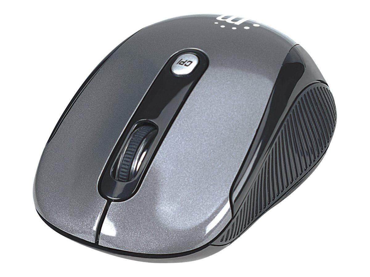 Manhattan Performance Wireless Mouse, Black, Adjustable DPI (1000, 1500 or 2000dpi), 2.4Ghz (up to 10m), USB, Optical, …
