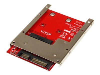 StarTech.com mSATA SSD to 2.5in SATA Adapter Converter - mSATA to SATA Adapter for 2.5in bay with Open Frame Bracket and 7mm Drive Height (SAT32MSAT257) - Storage controller - 1 Channel - SATA 6Gb/s - 600 MBps - SATA 6Gb/s - for P/N: BRACKET125PT, BRACKET125PTP, SATERASER4, SDOCK1EU3P2, SDOCK4U313, USB31C2SAT3