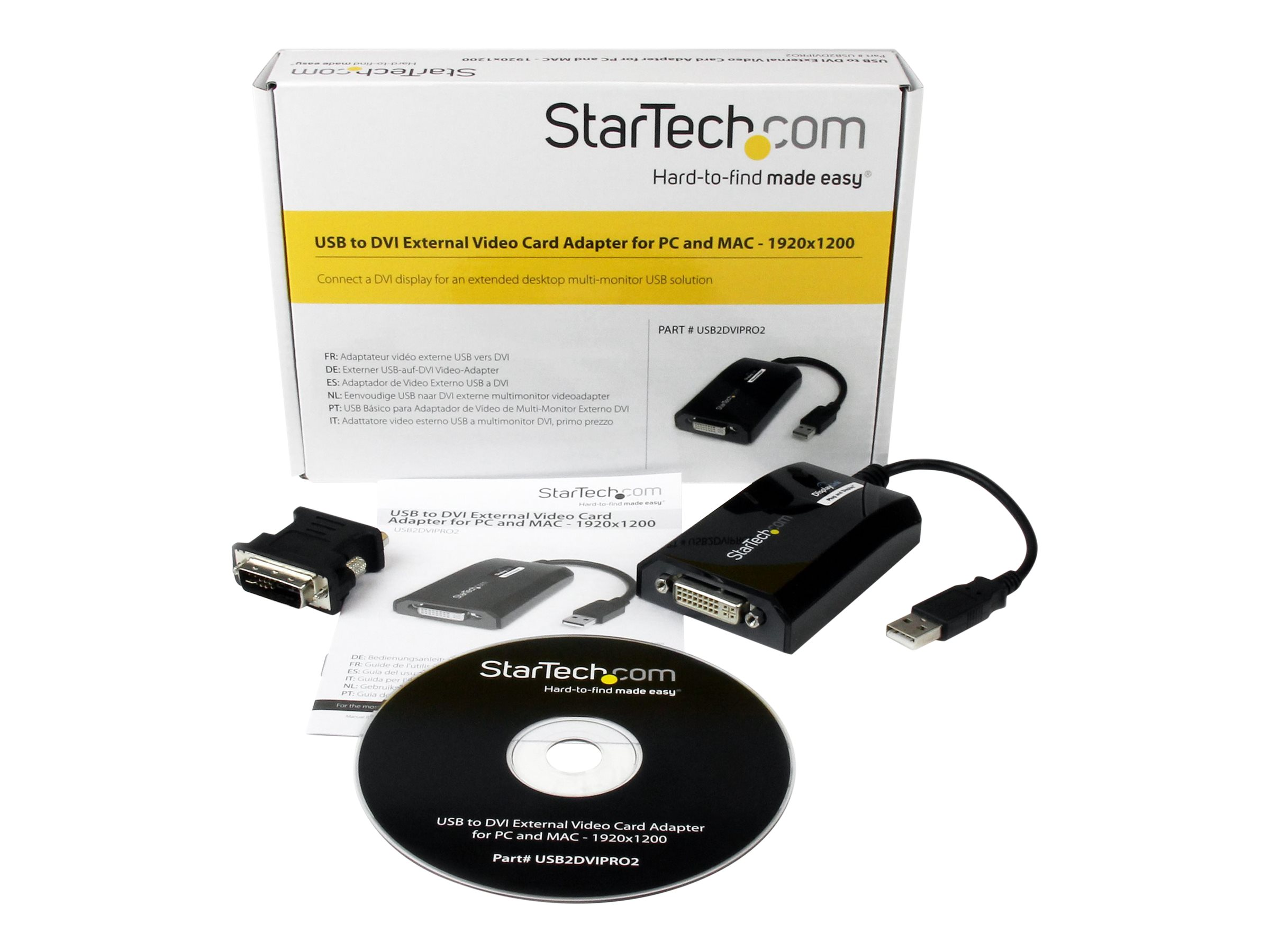StarTech.com USB to DVI Adapter - 1920x1200 - External Video & Graphics Card - Dual Monitor Display Adapter Cable - Sup…