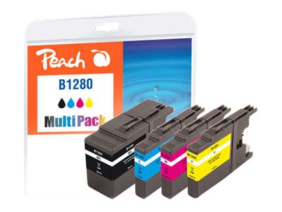 Multi Pack - 4er-Pack - XL - Schwarz, Gelb, Cyan, Magenta - wiederaufbereitet - Tintenpatrone (Alternative zu: Brother LC1280BK, Brother LC1280C, Brother LC1280M, Brother LC1280Y)