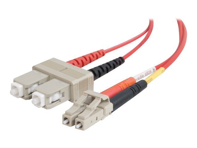 C2G LC-SC 62.5/125 OM1 Duplex Multimode Fiber Optic Cable (Plenum-Rated) - patch cable - 5 m - red