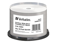 Verbatim - 50 x CD-R - 700 MB (80min) 52x - wide silver - ink jet printable surface - spindle