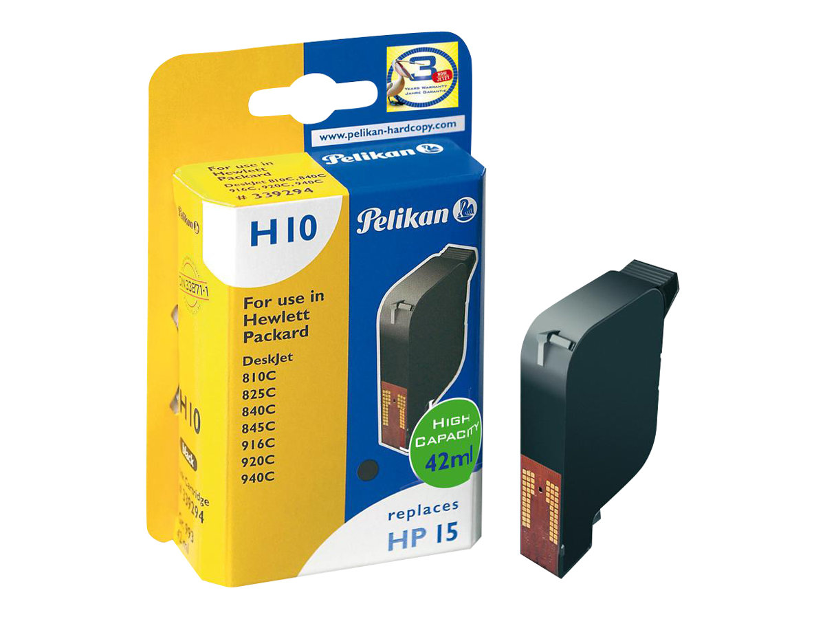 Pelikan H10 - 42 ml - Schwarz - Tintenpatrone (Alternative zu: HP 15) - für HP Deskjet 81X; Digital Copier 310; Officejet 51XX, v30, v45; psc 500, 720, 750, 760, 950