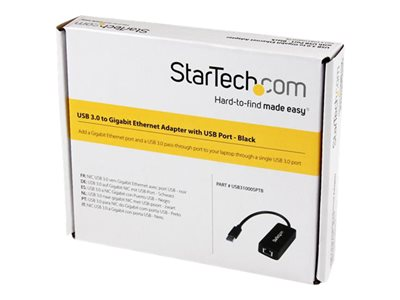 StarTech.com USB 3.0 Ethernet Adapter - USB 3.0 Network Adapter NIC with USB Port - USB to RJ45 - USB Passthrough (USB31000SPTB)
