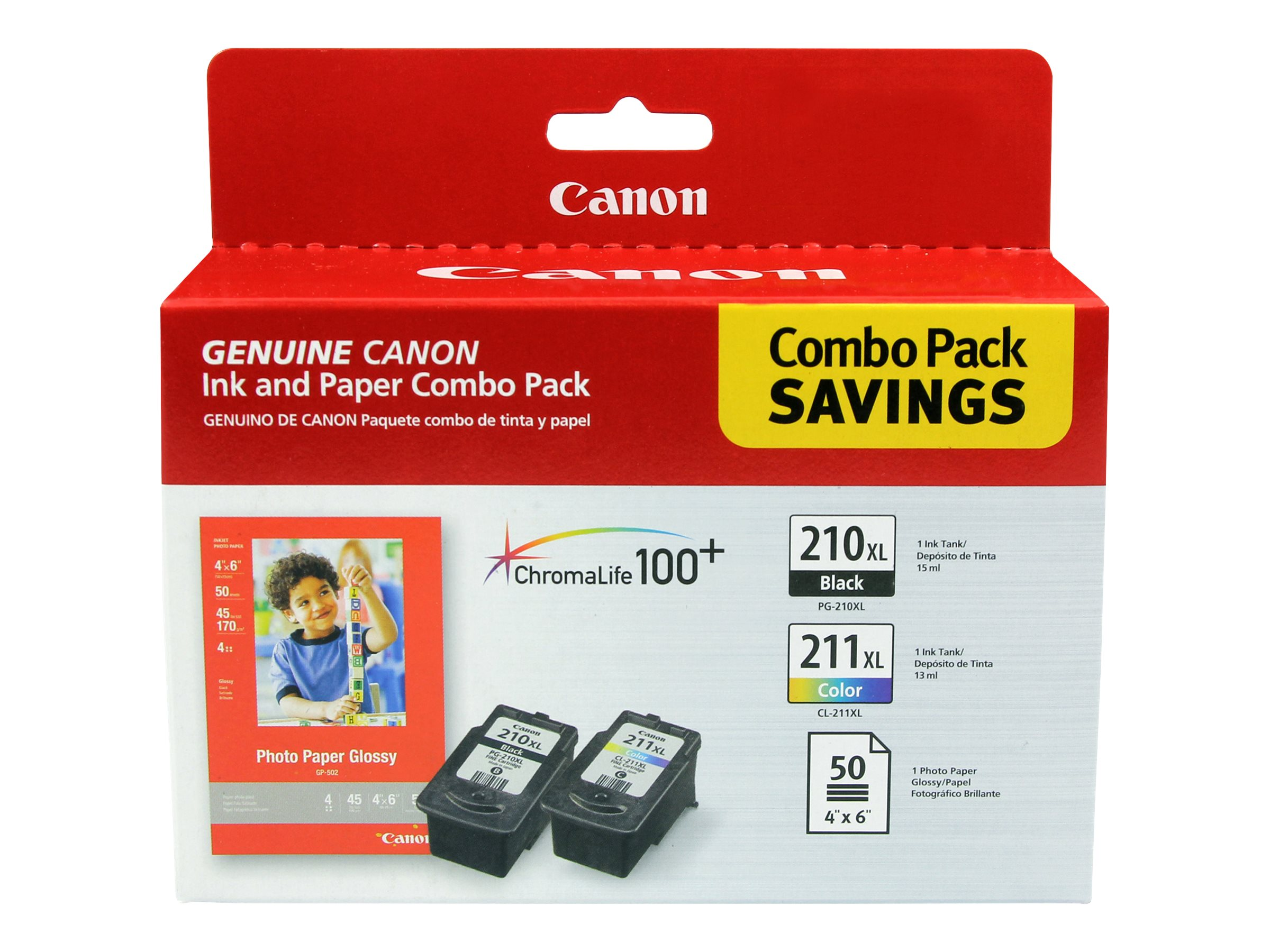 Canon PG-210 XL/CL-211 XL Combo Pack with Photo Paper Glossy - 2-pack - XL - color (cyan, magenta, yellow), pigmented b…