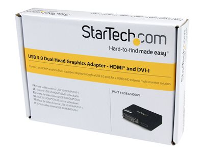 StarTech.com USB 3.0 to HDMI / DVI Adapter - 2048x1152 - External Video & Graphics Card - Dual Monitor Display Adapter Cable - Supports Mac & Windows (USB32HDDVII)