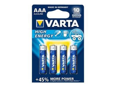 Varta High Energy 04903 - Batterie 4 x AAA-Typ Alkalisch