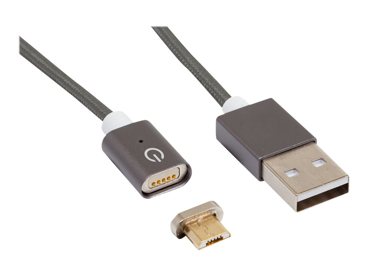 RealPower Magnetic mobile M - USB-Kabel - USB (M) bis Micro-USB Typ B (M) magnetisch - USB 2.0 - 2.1 A - 1 m